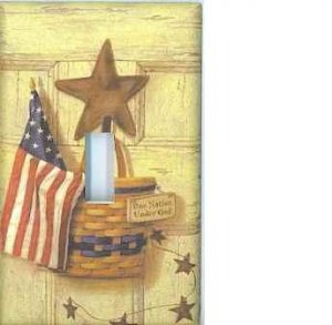Americana Flag with basket Switchplate Switch plate