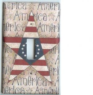 Americana Star Flag single light switch plate cover switchplate