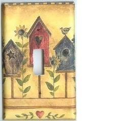 Birdhouse and Sunflowers single light switchplate switch plate