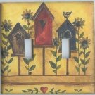 Birdhouse and Sunflowers double light switchplate switch plate