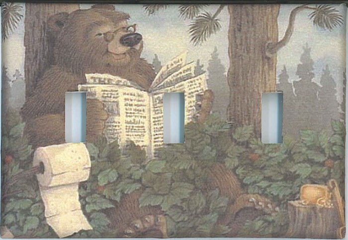 Bathroom Bear decorative triple light switch plate switchplate