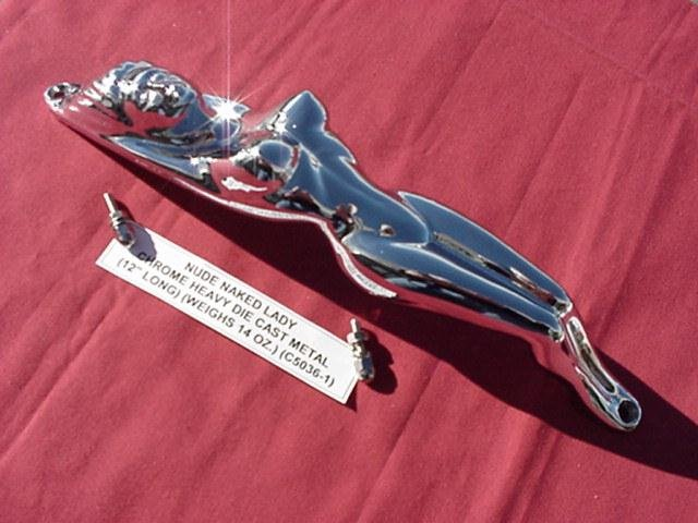 NAKED LADY FIGURINE CHROME NUDE HOOD HUB CAP RAT ROD