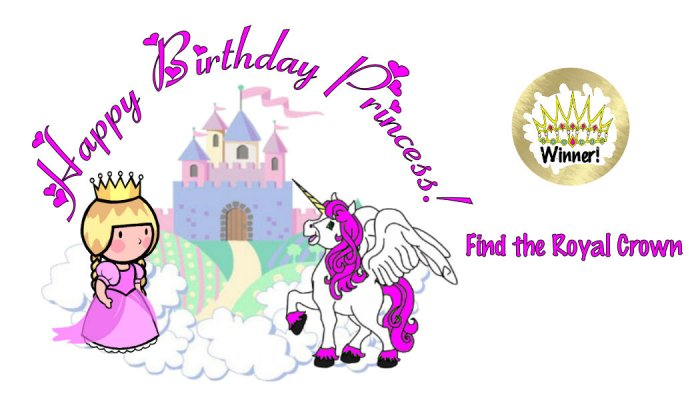 12 PRINCESS Birthday Favors Scratch Off Game Tickets PERSONALIZED
