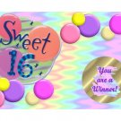 12 SWEET 16  Birthday Favors Scratch Off Game Tickets PERSONALIZED