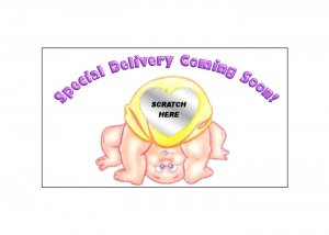 12 Special Delivery Baby Shower Party Favors Scratch Off Game Tickets PERSONALIZED