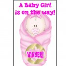 12 Pink Girl Baby Bundle Shower Party Favors Scratch Off Game Tickets