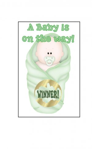 12 Green Baby Bundle Shower Party Favors Scratch Off Game Tickets