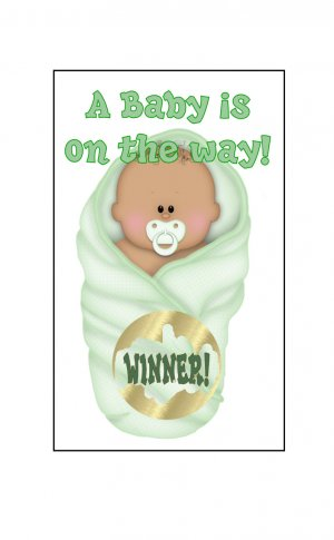 12 Green African American or Latino Baby Bundle Shower Party Favors Scratch Off Game Tickets
