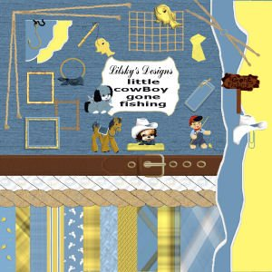 """Little Boy Gone Fishing"" Full Digital Scrapbook Kit"
