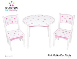 Pink Polka Dot Table and Two Chair Set
