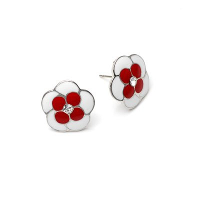 exsj1010 Red n White Flower Earring