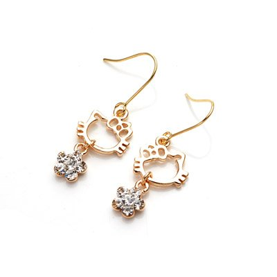 exsj1045 Golden Kitty Earring (short)