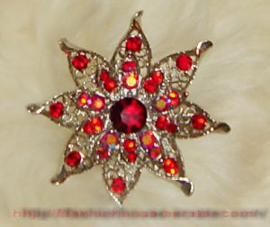 nnc1006 Red Crystal Flower Sliver Pin