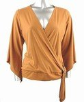 Stretch Knit Surplice V-neck Top (Plus Size)-1001CM-BB204-b2b