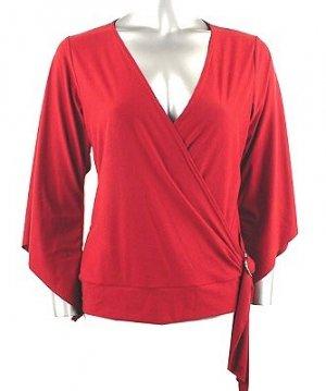 Stretch Knit Surplice V-neck Top (Plus Size)-1001WN-BB204-b2b