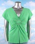 Stretch Knit V-neck Top (Plus Size)-1070LM-EX114-b2b