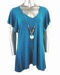 Stretch Knit V-neck Top (Plus Size)-4649BL-ES204-b2b