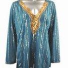 Stretch Knit V-neck Top (Plus Size)-4895TL-ES529-b2b
