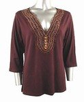 Stretch Knit V-neck Top (Plus Size)-4806BR-ES109-b2b