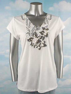 Stretch Knit V-neck Top (Plus Size)-4985IV-ES007-b2b