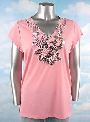 Stretch Knit V-neck Top (Plus Size)-4985PN-ES007-b2b