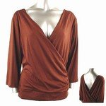 Stretch Knit Surplice V-neck Top (Plus Size)-8829BR-ZE204-b2b