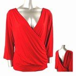 Stretch Knit Surplice V-neck Top (Plus Size)-8829RD-ZE204-b2b