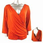 Stretch Knit Surplice V-neck Top (Plus Size)-8829RS-ZE204-b2b