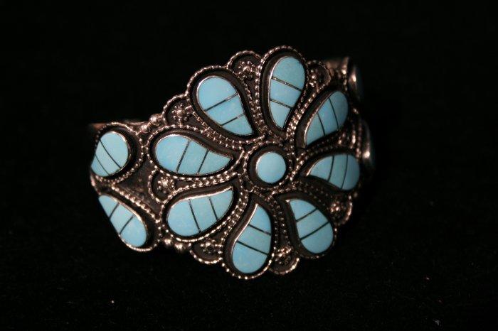 Seven Petal Turquoise Flower Handmade Indian Bracelet-6