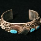 Turquoise and Opal Inlay Cuff Handmade Indian Bracelet-10