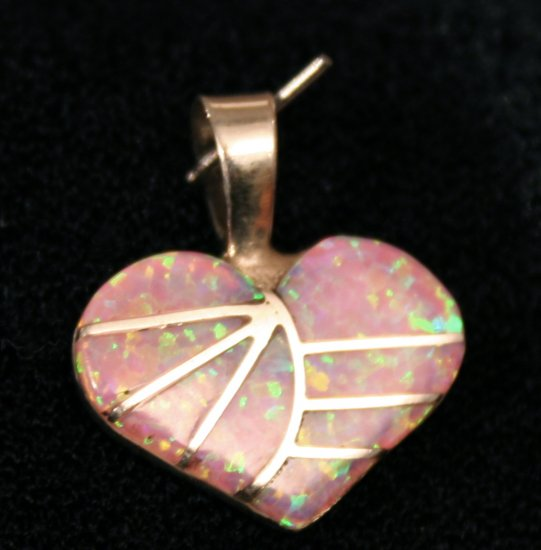 Pink Opal Heart Handmade Indian Pendant-9
