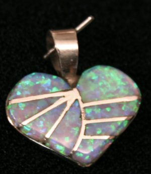 Turquoise and Light Opal Heart Handmade Indian Pendant-10