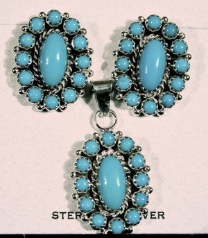 3 Piece Turquoise and Sterling Silver Set