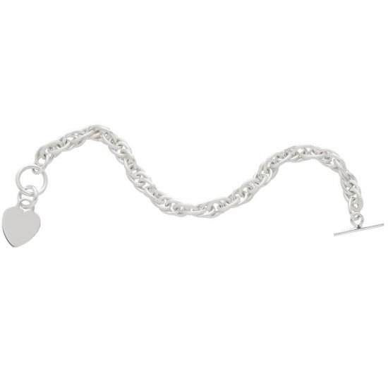 Sterling Silver Braided Bracelet with Dangling Heart