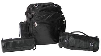 Diamond Plate 3pc Rock Design Genuine Buffalo Leather Motorcycle Bag Set.