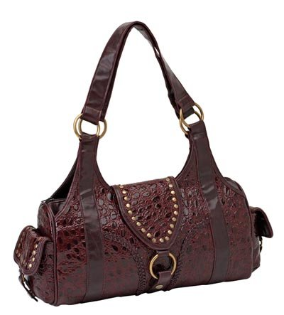 Solid Leather Burgundy Purse