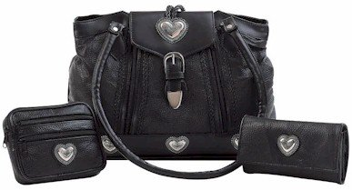 Embassy 3pc Purse Set with Wallet and Make-Up Bag