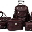 Embassy 5pc Genuine Leather Luggage with Embossed Crocodile Design