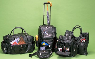 Maxam Italian Stone Design 5pc Genuine Lambskin Leather Luggage