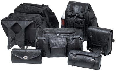 Diamond Plate 7pc Alligator Embossed Genuine Buffalo Leather Motorcycle Luggage