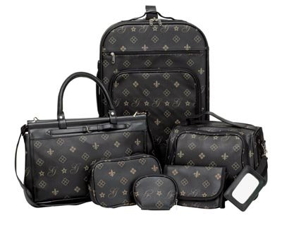 6pc Designer Styled Faux Leather Luggage Set