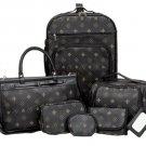 6pc Designer Styled Faux Leather Luggage Set