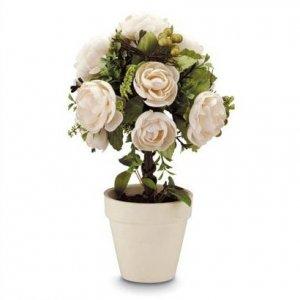 Fabric Rose Topiary