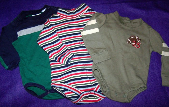 Set of 3 Boys 12 Months Long Sleve Winter Onsies - Football, Stripes - Used