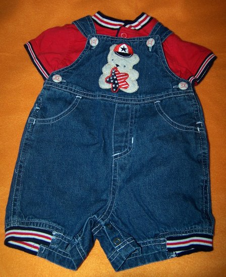 Boys Teddy Bear Red White Blue Jean Shorts Outfit 3-6 Months