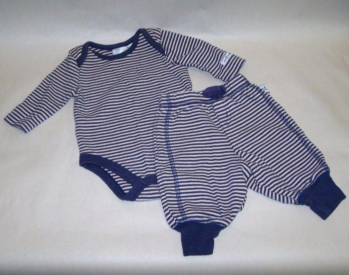 0-3 Months Blue Stripped Long Sleeve Onsie w/ Pants