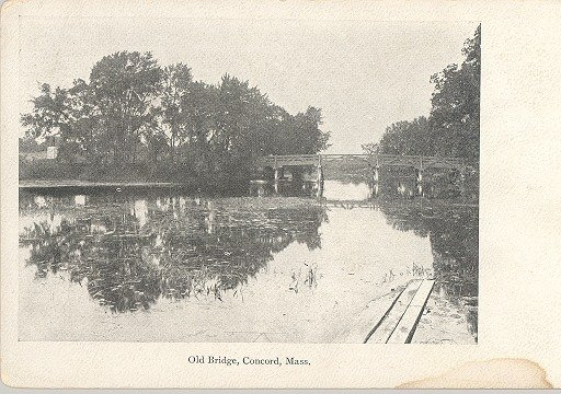 Early 1900s Old Bridge Concord Mass Postcard unUsed