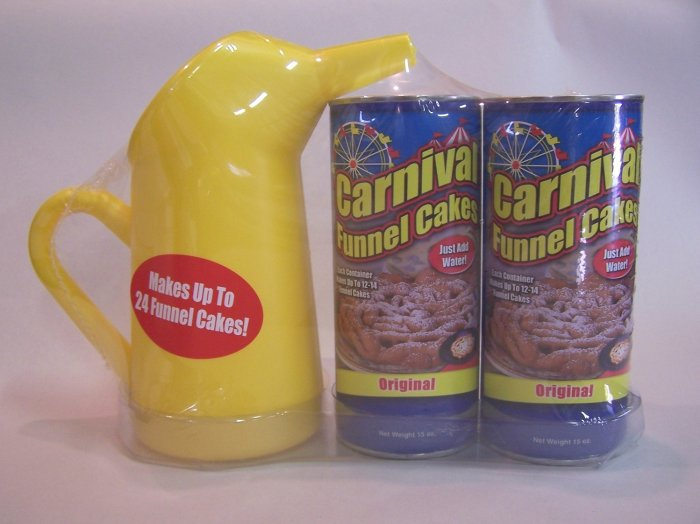 Carnival Funnel Cake Pitcher & 2 Containers of Funnel Cake Mix for 24 Cake