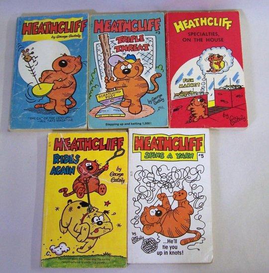 Lot of 5 Heathcliff Paperback Comic Books  - 1970 & 1980s