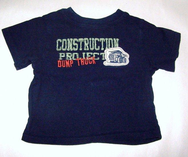 Construction Dump Trucks Boys 24 Month Short Sleeve Dark Blue Shirt - T-shirt